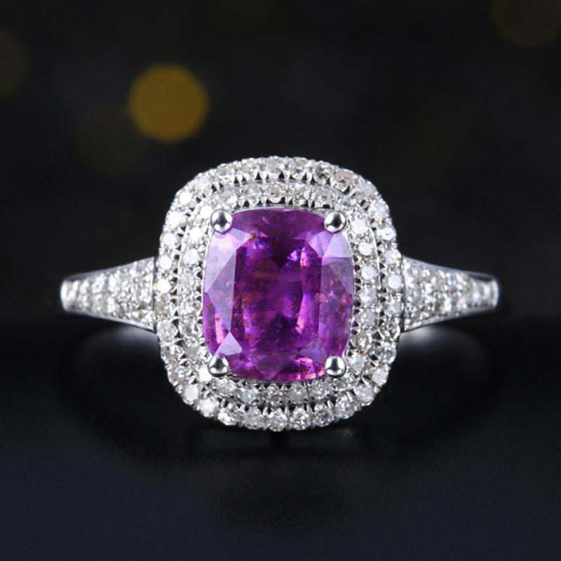 无烧紫蓝宝石戒指,材质:18k金,配石:钻石,宝石参数:1.55ct,配石:83颗,总重2.32克,