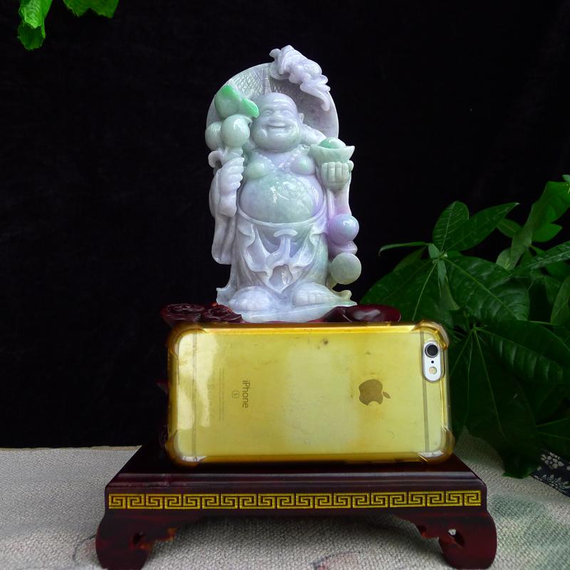 翡翠春带彩弥勒佛摆件,雕工精湛,淡紫底飘绿,配送精美实本座,连底座:290/175/122mm裸石:180/85/45mm玉石重1.07公斤