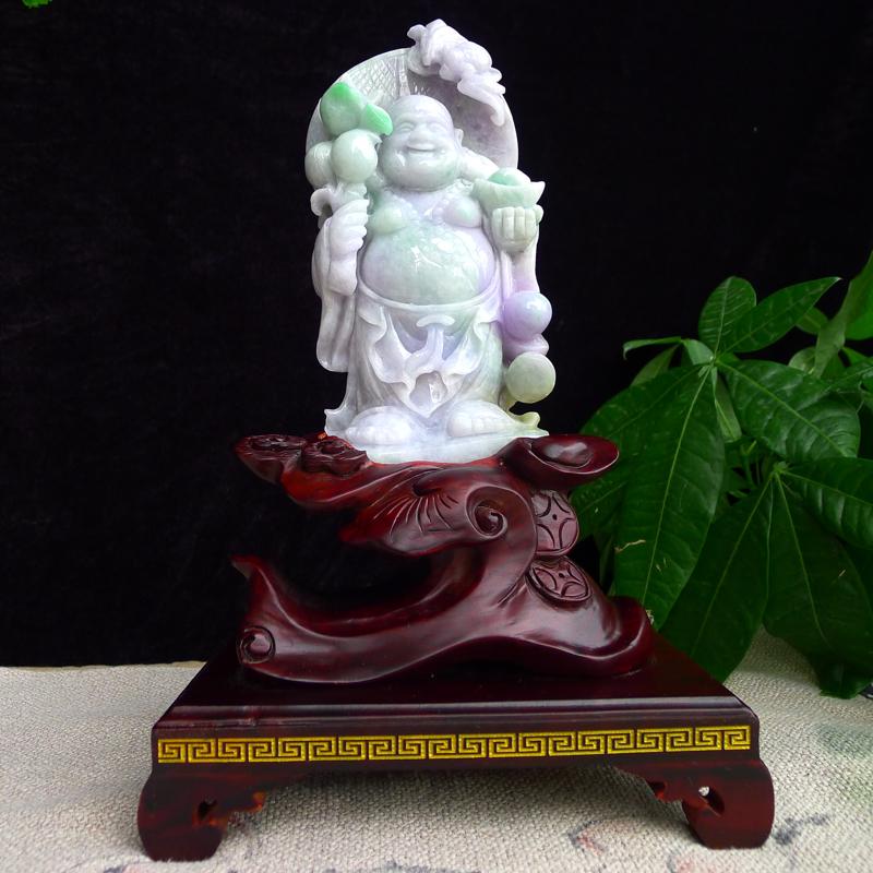 翡翠春带彩弥勒佛摆件,雕工精湛,淡紫底飘绿,配送精美实本座,连底座:290/175/122mm裸石:
