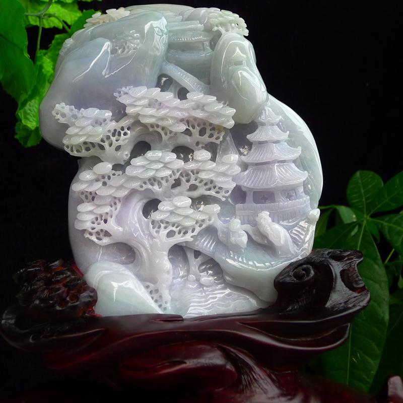 翡翠老种紫罗兰精雕步步高升,高山流水摆件,雕工精美,层次感强,种老水足,配送精美底座,连底坐300/252/120mm裸石200/145/32mm 翡翠重1.75公斤