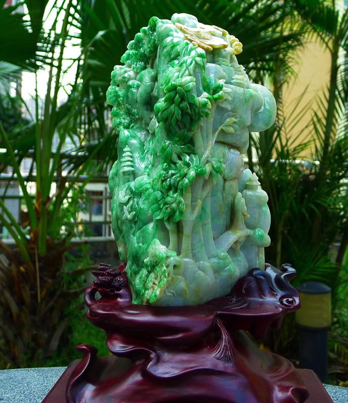 缅甸天然翡翠A货 绿 阳绿 高山流水 山水摆件 雕刻精美线条流畅种水好 层次分明 工艺精湛 搭配精美