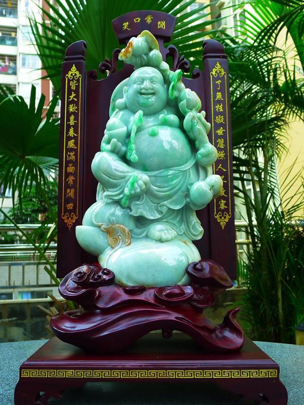 缅甸天然翡翠A货 精美 黄加绿 大尊 笑口常开 财源广进 多子多福 笑佛摆件 雕刻精美线条流畅 种水