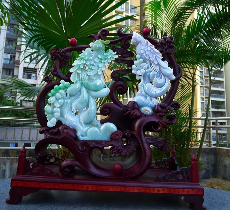 缅甸天然A货翡翠,精美 喜上眉梢花开富贵 好事成双 ,英明神武,尺寸400.360.150裸石尺寸2