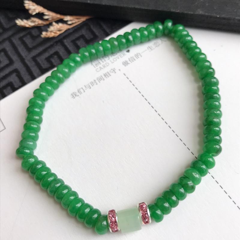MD606翡翠A货满绿算盘手链,尺寸4.6*3mm,隔珠是装饰品