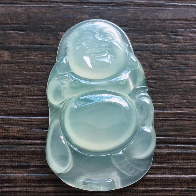 冰佛挂件,自然光实拍,缅甸a货翡翠,冰种玉佛,种好通透,水润玉质细腻,雕刻精细,饱满品相佳,有孔可直