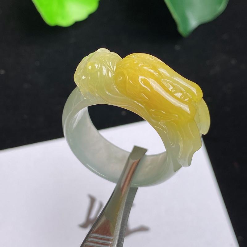 A货翡翠-种好黄翡龙腾盛世扳指,尺寸-20*9.9*8.5mm23号