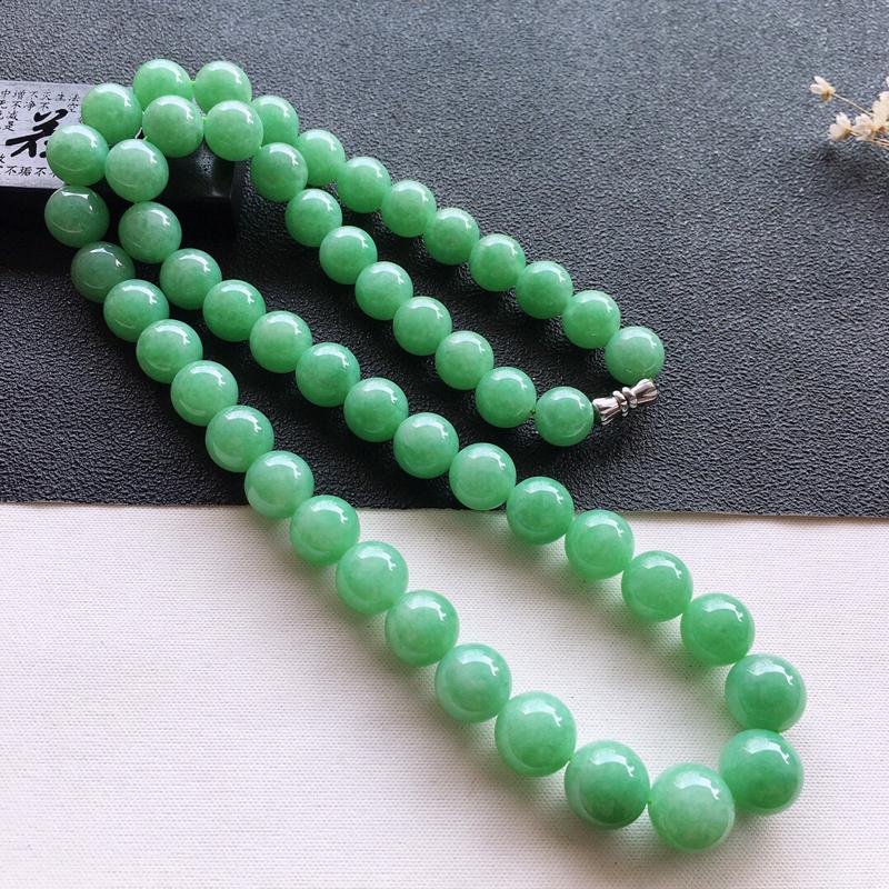 精品翡翠大颗粒项链,玉质莹润,佩戴效果更美,尺寸:链长:540MM,玉:10.2MM,总质量:97.
