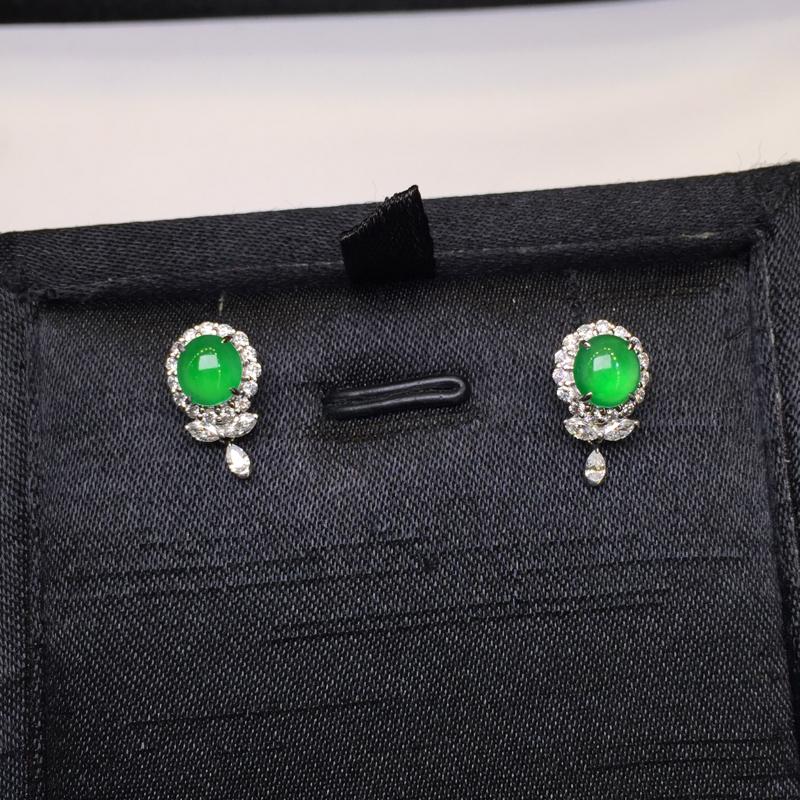 一对阳绿耳钉,底庄细腻,18K金南非真钻镶嵌,性价比高,推荐,尺寸13*8*7.6/5.7*5.3*