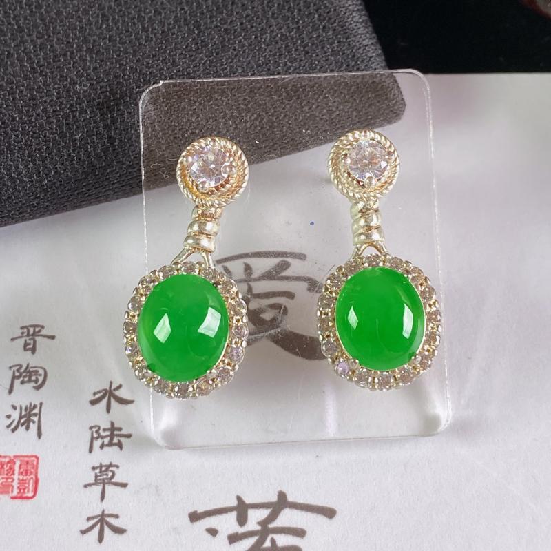A货翡翠-种好阳绿托铜蛋面,尺寸-9.8*8.5*3.1mm