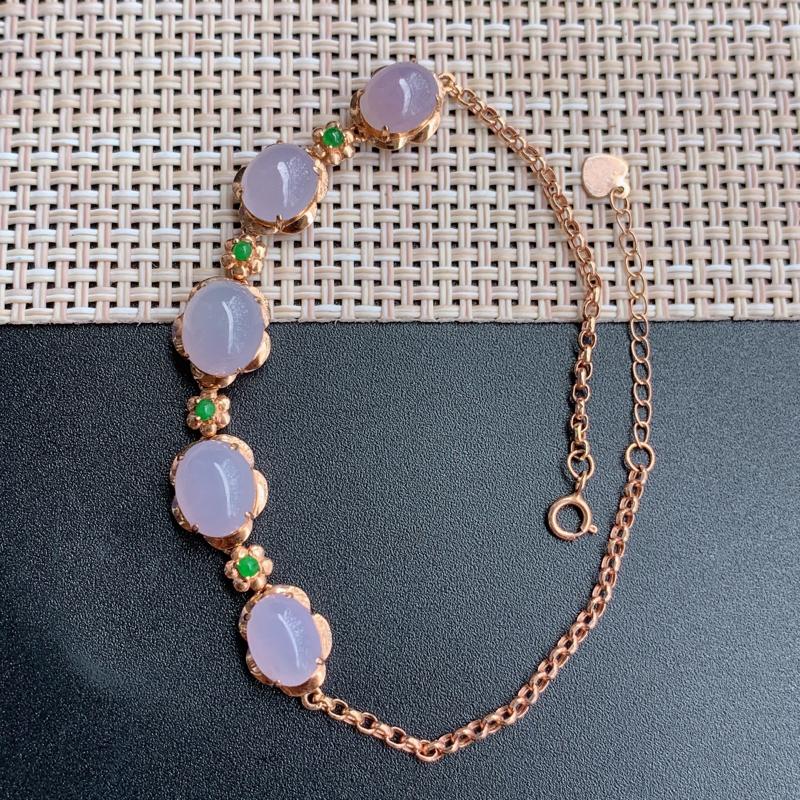 冰紫手链、裸石尺寸:9.1/7.3/3.1mm、含金206/9.7/7.7mm,A货翡翠18k金紫罗
