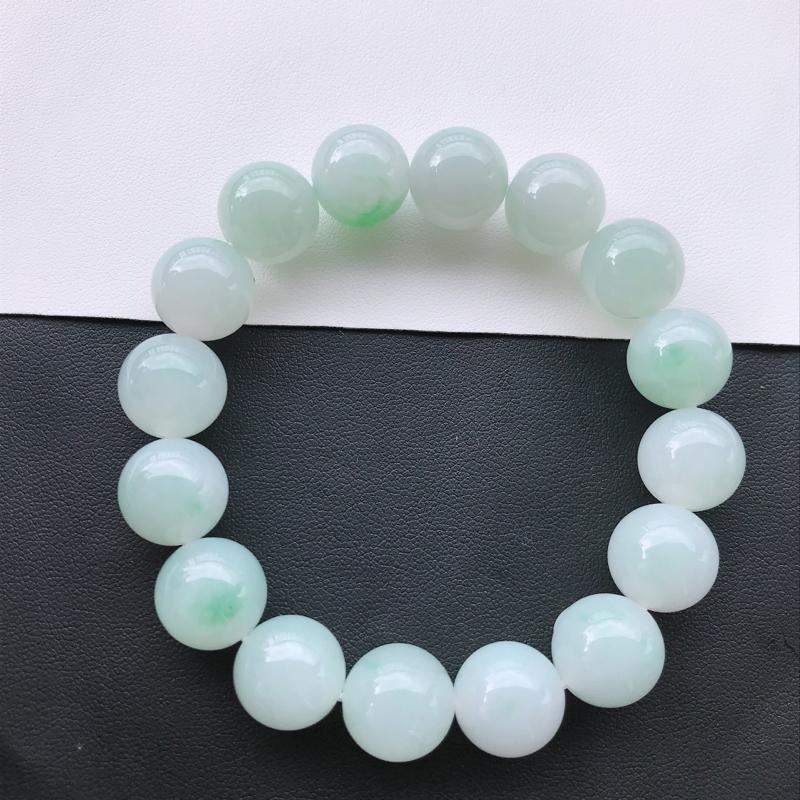 天然翡翠A货细糯种满绿精美圆珠手链,尺寸13mm,玉质细腻,种水好 上身效果漂亮