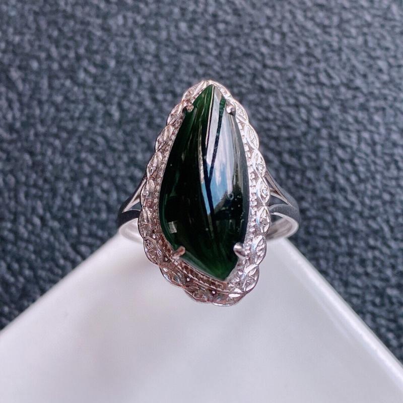 0918老坑精美水润墨绿A货翡翠18K金镶钻戒指 含金尺寸21*11.8*8.2mm