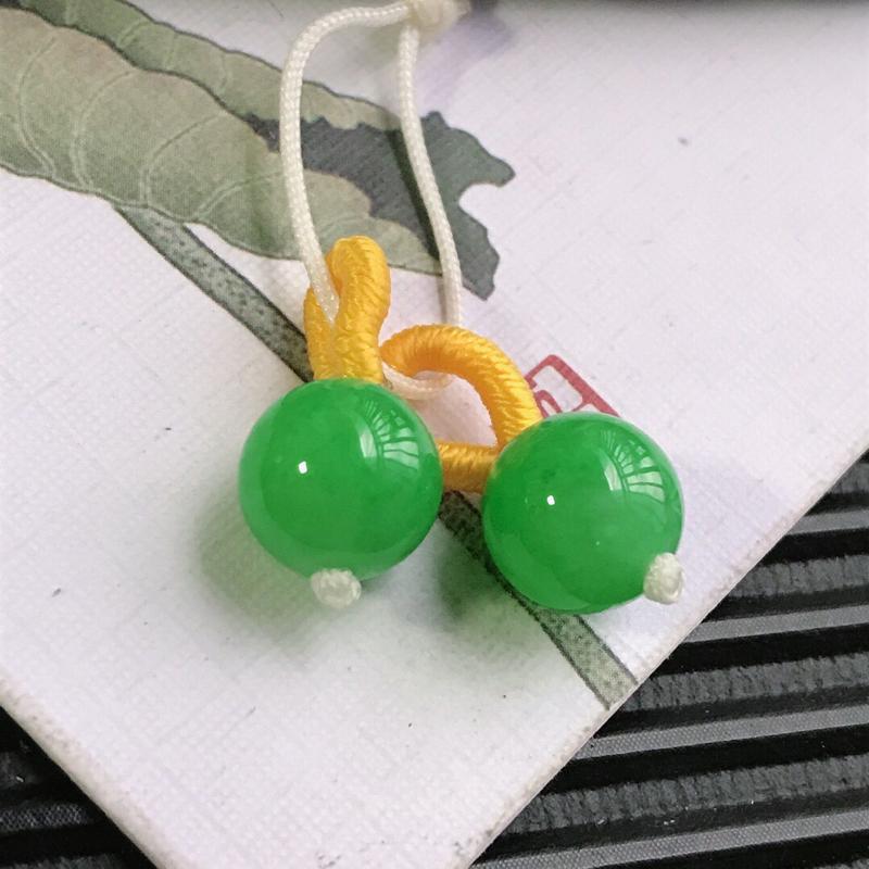 满绿颜色好转运珠福气戒面可镶嵌,/9.16翡翠A货,尺寸:7.8mm,编号:699