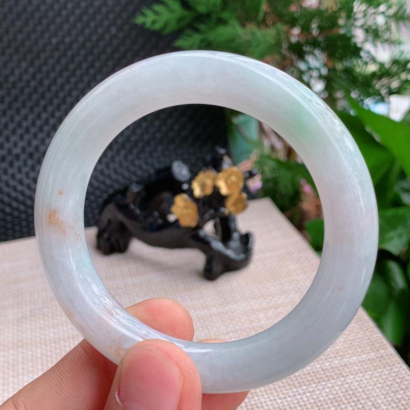 双彩手镯、尺寸:55.5/11.1mm,重量:74.16g、A货翡翠双彩圆条手镯、编号0918