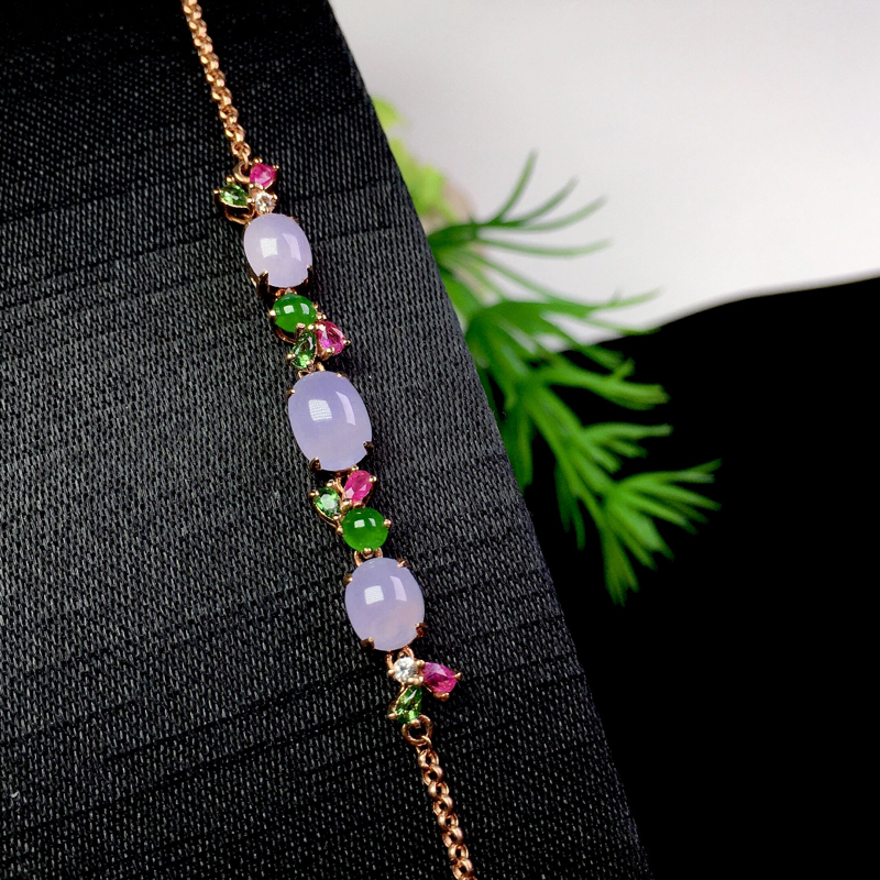 粉紫手链,清新甜美,冰润细腻,整体:42.6*5.5*4.5(18k金)