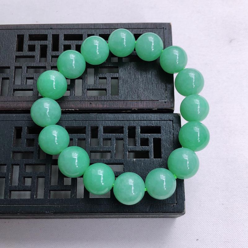 09/18 满绿圆珠手链,尺寸:12.8mm 重量57.53g