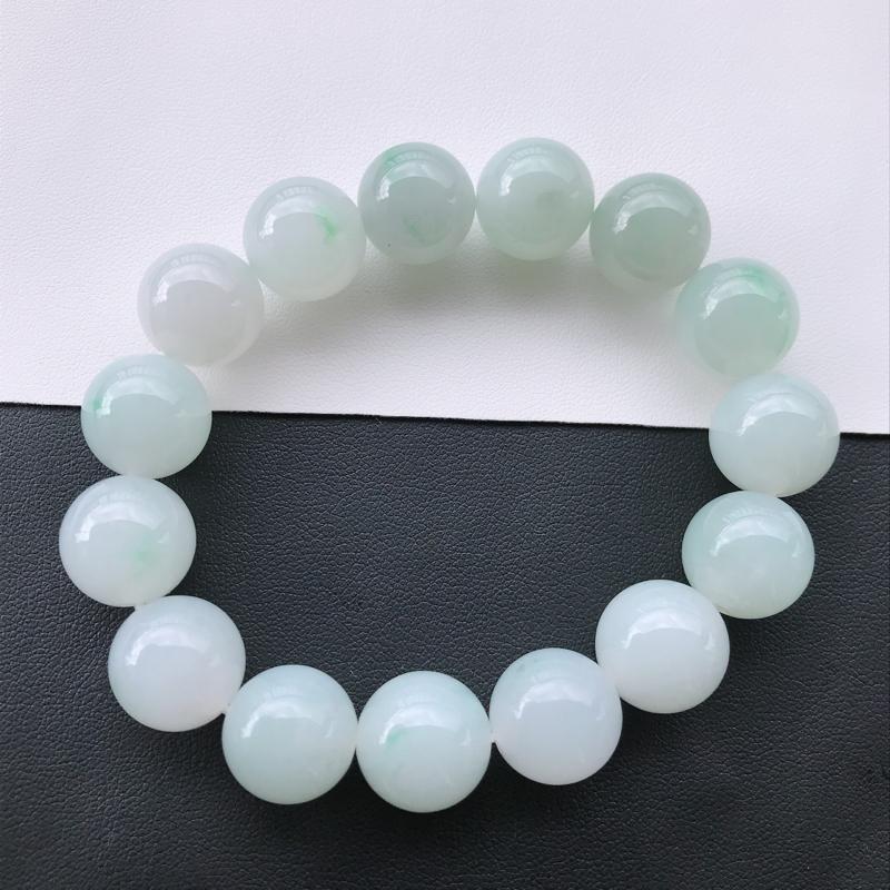 天然翡翠A货细糯种飘绿精美圆珠手链,尺寸14mm,玉质细腻,种水好 上身效果漂亮