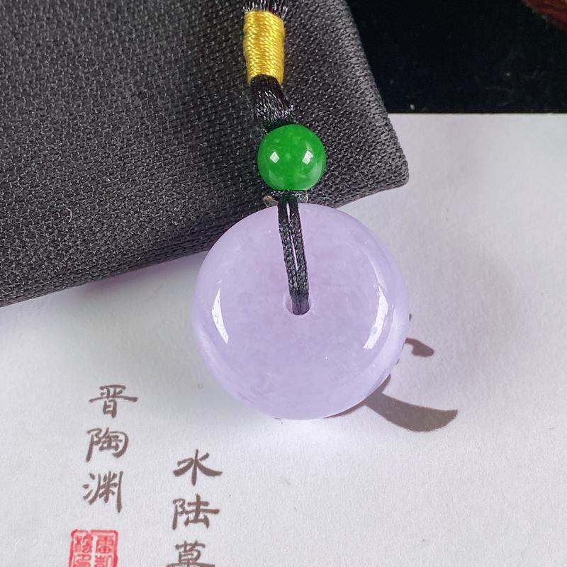 A货翡翠-种好紫罗兰路路通吊坠,尺寸-9.8*19.6mm 顶珠为装饰
