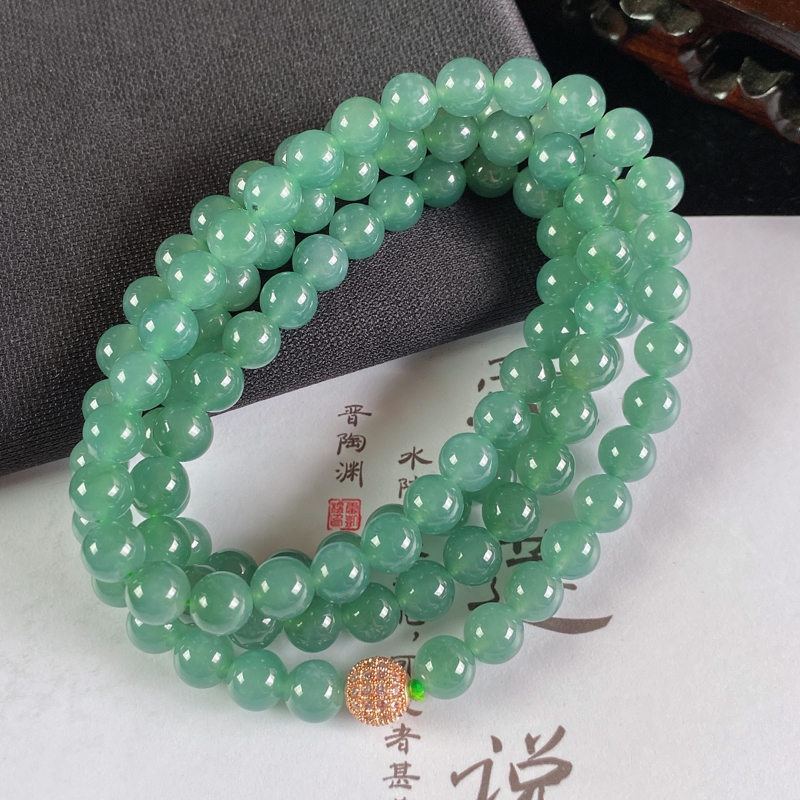 A货翡翠-种好油绿圆珠项链,尺寸-7.2mm
