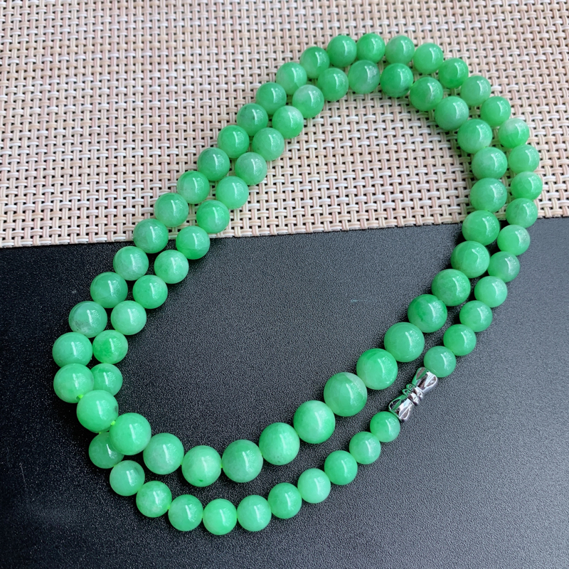 塔珠项链、尺寸:77颗5.7/8.6mm,重量:49.02g、A货翡翠满绿塔珠项链、编号0919