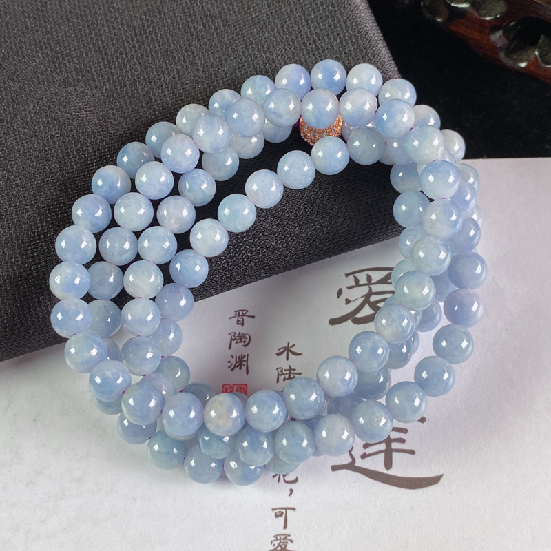 A货翡翠-种好紫罗兰圆珠项链,尺寸-6.4mm