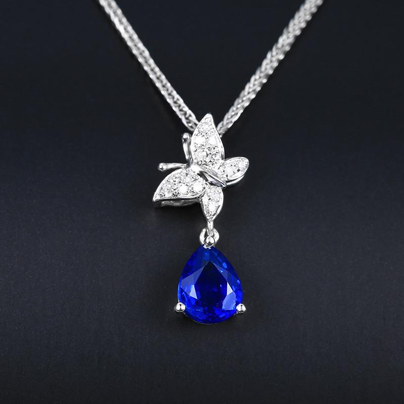 蓝宝石吊坠,材质:18k金,配石:钻石,宝石参数:0.52ct,配石:14颗,总重0.57克,(不含