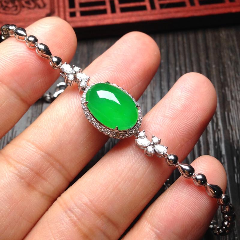 老坑冰绿蛋面手链,裸石13.5*9.5*4.5 18k金钻镶嵌 料子细腻圆润 通透明亮,润泽无比,清