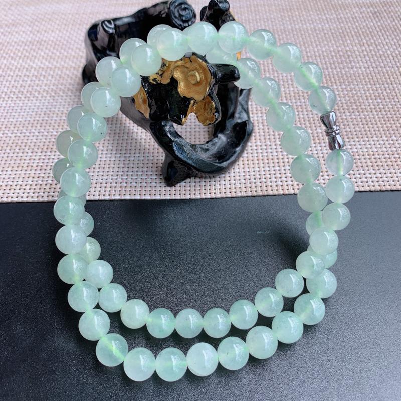 塔珠项链、尺寸:61颗9.9/8.2mm,A货翡翠冰透浅绿塔珠项链、编号0919