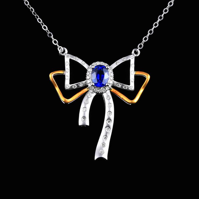 蓝宝石项链,材质:18k金,配石:钻石,宝石参数:0.53ct,配石:52颗,总重3.60克,链长: