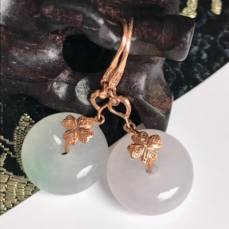 缅甸翡翠老坑A货镶嵌18k金伴钻绿紫平安扣耳坠对配,包金尺寸33.9mm,裸石尺寸14.5-6.3m