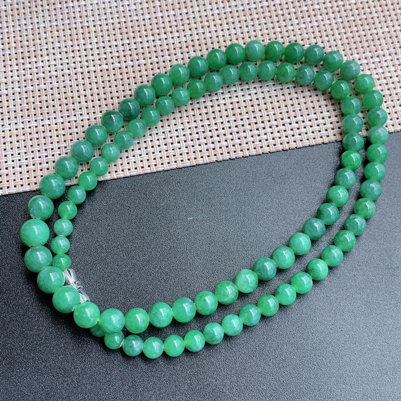 塔珠项链、尺寸:89颗5/8.1mm,A货翡翠满绿塔珠项链、编号0919