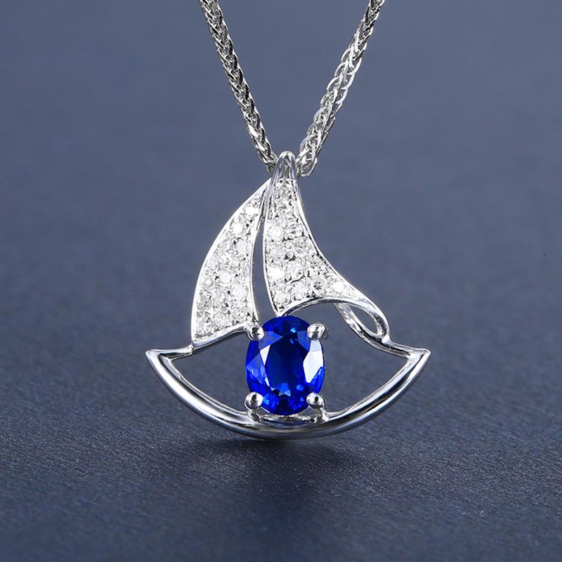 蓝宝石吊坠,材质:18k金,配石:钻石,宝石参数:0.48ct,配石:27颗,总重0.91克,(不含