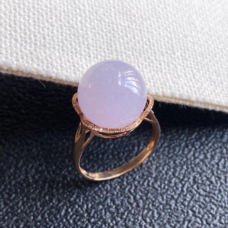 0920老坑精美水润淡紫A货翡翠18k金镶钻蛋面戒指