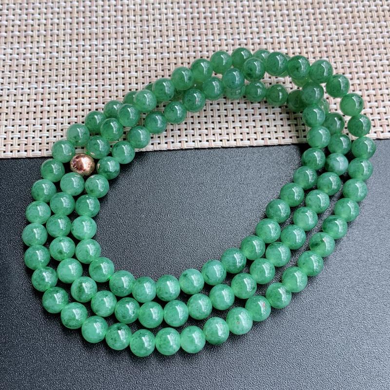 满绿项链、尺寸:108颗6.6mm,A货翡翠满绿圆珠项链、编号0920