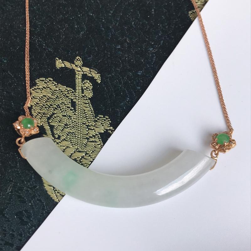 缅甸翡翠老坑A货镶嵌18k金伴钻飘绿随形项链,包金尺寸60mm,裸石尺寸45.2-6.6-7.3mm