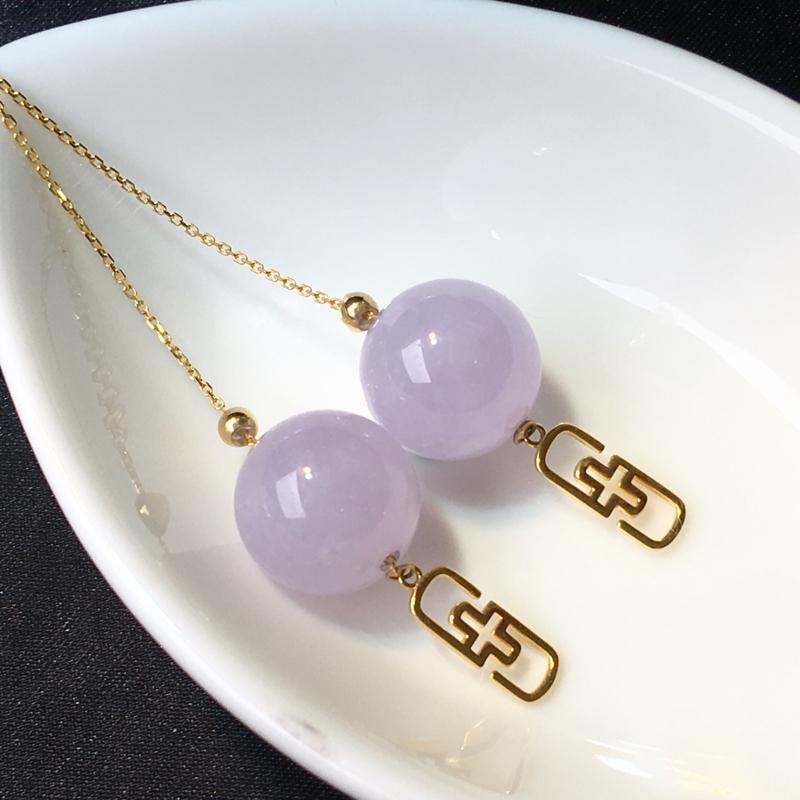 翡翠a货,紫罗兰圆珠耳线,18K金镶嵌,颜色清爽,佩戴精美,性价比高
