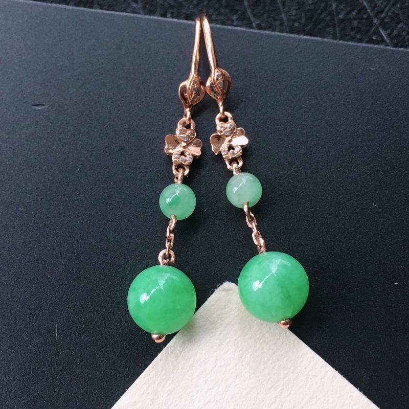 18K金伴钻镶嵌翡翠满绿圆珠耳坠,种水好玉质细腻温润,颜色漂亮。耳坠长:35.4mm