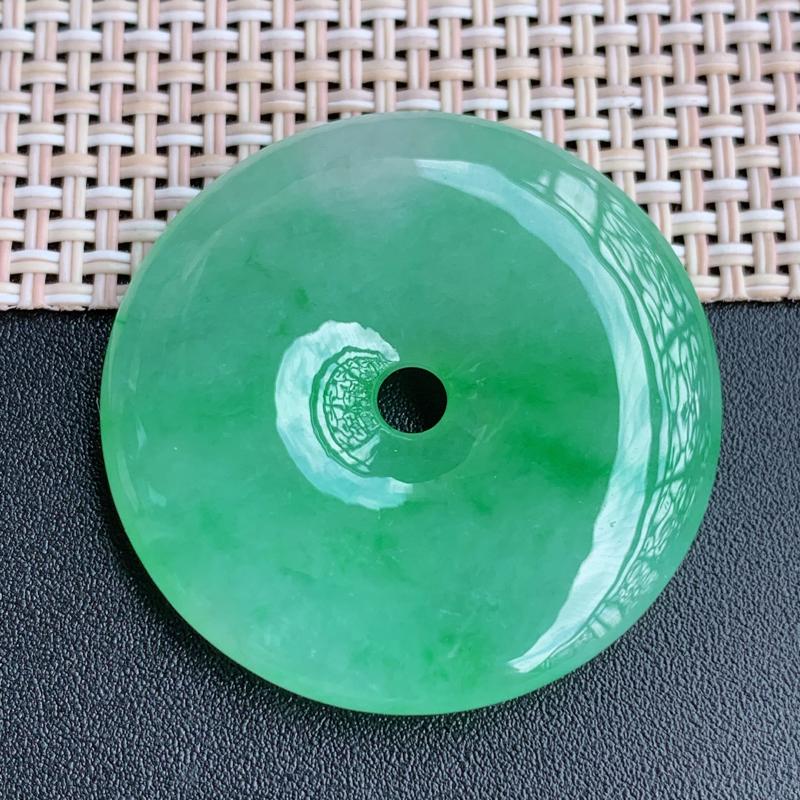 飘花平安扣、尺寸:34.1/6.1mm,A货翡翠冰透飘花平安扣、编号0922