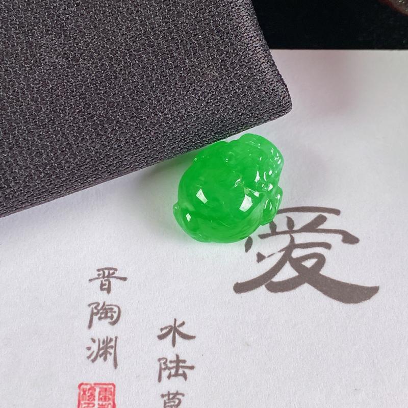 A货翡翠-种好阳绿招财金蟾镶嵌件,尺寸-15.4*12.3*6.9mm