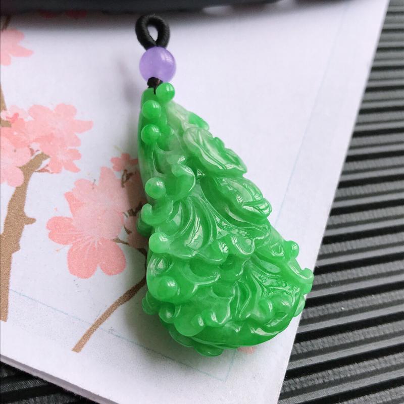 和气生财吊坠,翡翠A货,尺寸:44.8*25.5*9.7mm,顶珠是装饰品