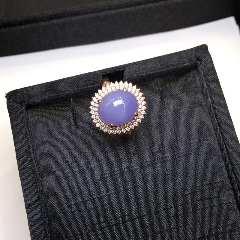 紫罗兰戒指,紫气东来,无纹裂,18K金南非真钻镶嵌,底庄细腻,性价比高,推荐,尺寸17*25.5*1