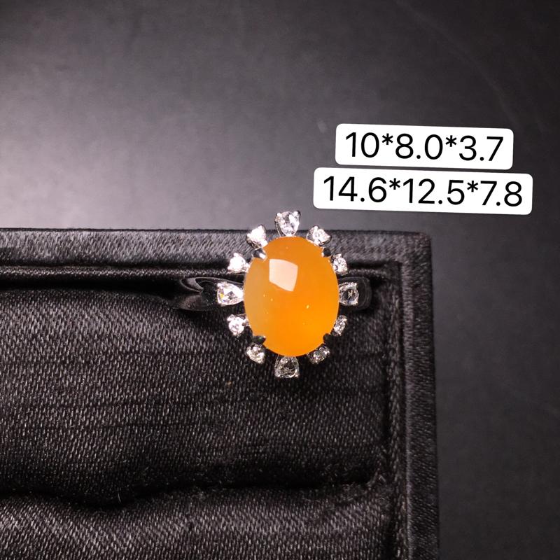 黄翡蛋面戒指,18K金镶嵌,无纹无裂,玉质细腻,质量杠杠的,性价比超高