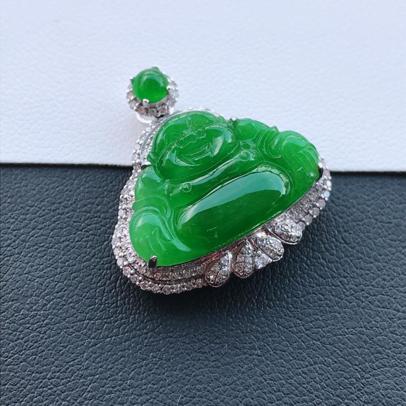 天然翡翠A货18K金镶嵌伴钻细糯种满绿精美佛公吊坠,含金尺寸25-24-9mm,裸石尺寸14-20.