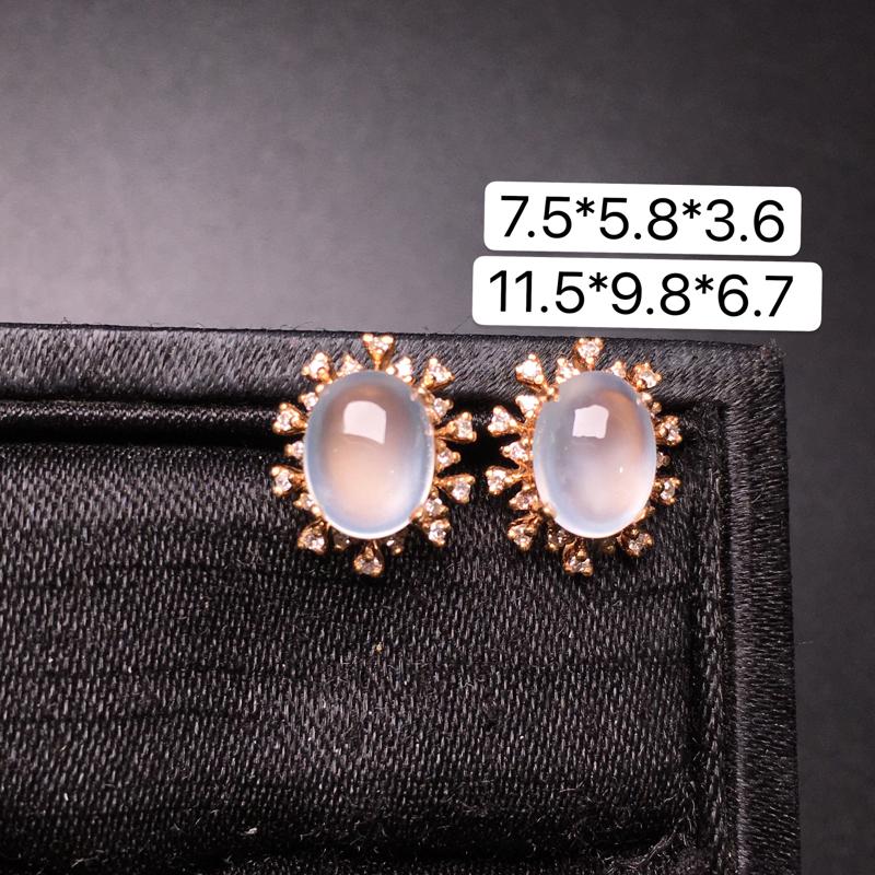 蛋面耳钉,18K金镶嵌,无纹无裂,玉质细腻,质量杠杠的,性价比超高**