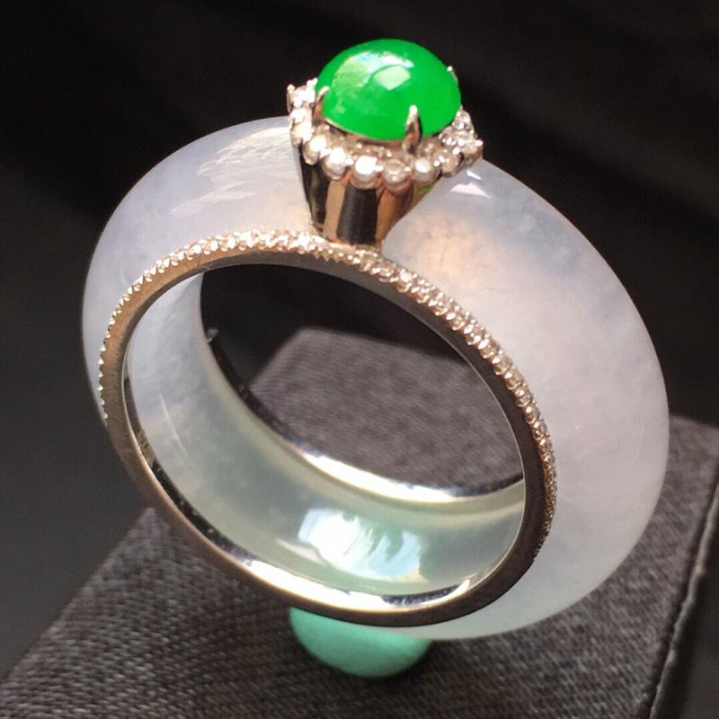 冰种精美戒指,通透厚装 裸石蛋面6*5.8*3,27.5*6.5*4.3,圈口内径18.5mm