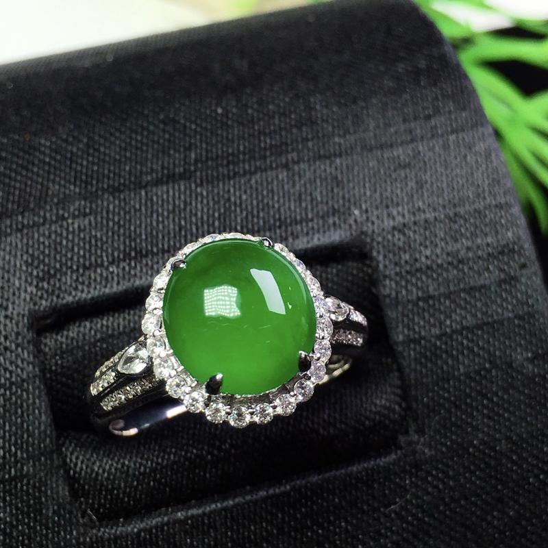 冰满绿戒指,种色俱佳,饱满清爽,裸石:9.6*9*3.2 整体:19*12*9圈口:14