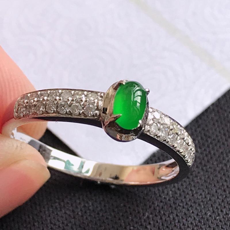 翡翠A货满绿18K金伴钻福气戒指,包金尺寸5.9*4.2*5.2mm,裸石尺寸4.5*3*3mm,内