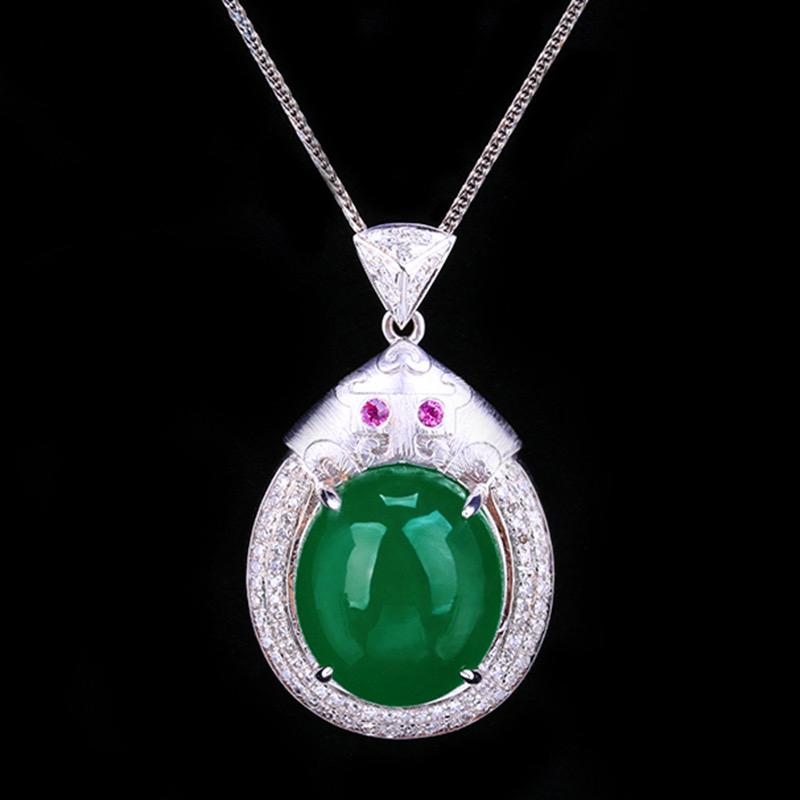 祖母绿吊坠,材质:18k金,配石:钻石、红宝石,宝石参数:9.71ct,配石:85颗,总重5.32克