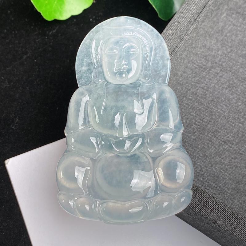 A货翡翠-种好冰润观音菩萨吊坠,尺寸-67.8*41.5*6mm