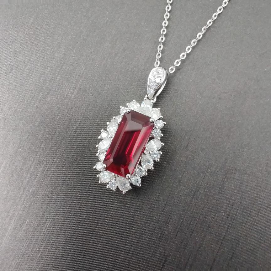 【2克拉红宝石吊坠】红宝石+18k金+钻石  精工品质切工 主石:2.25ct   货重:2.02g